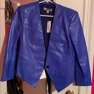 Blue Leather Helmut Lang Tuxedo Blazer